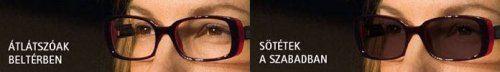 Transitions fényre sötétedő, alkalmazkodó szemüveglencse ESSILOR Crizal felületvédelemmel a STYLE OPTIKA üzletéből - 100% fényvédelem - 100% UV szemvédelem, optika, szemüveg, ár, árak, Optifog páramentes zöld színű fényre sötétedő szemüveg lencse párásodás ellen