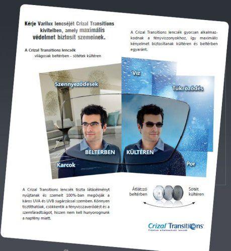 Transitions fényre sötétedő, alkalmazkodó szemüveglencse ESSILOR Crizal felületvédelemmel - 100% fényvédelem - 100% UV szemvédelem, optika, szemüveg, ár, árak, Optifog páramentes fényre sötétedő szemüveg lencse párásodás ellen